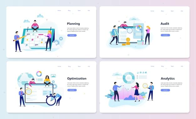 Business website template set. planung, optimierung, analyse