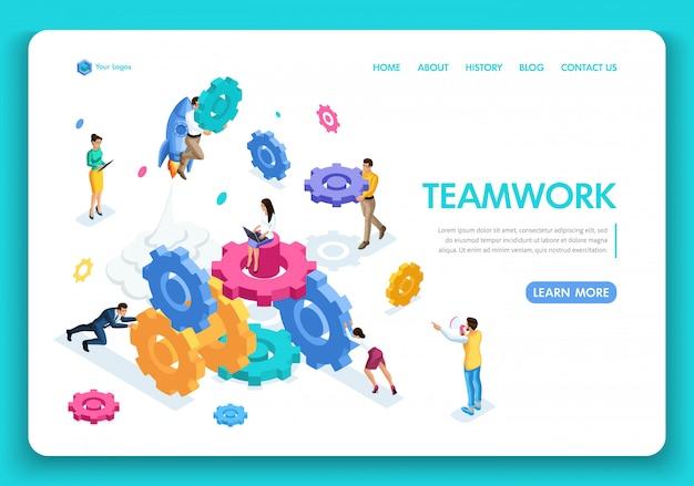 Business-website-vorlage. isometrische konzeptarbeit von geschäftsleuten, teamwork, brainstorming. einfach zu bearbeiten und anzupassen