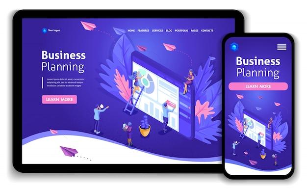 Business-website-vorlage. isometrische konzeptarbeiten zu datenerfassung, zeitmanagement und geschäftsplanung. einfach zu bearbeiten und anzupassen responsive