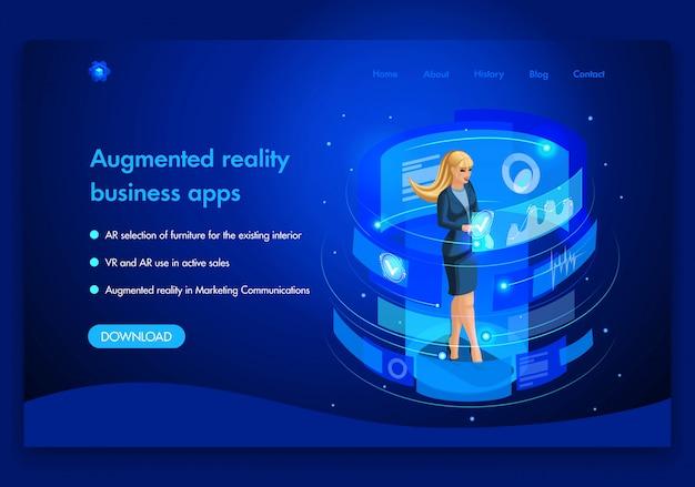 Business-website-vorlage. isometrisches augmented-reality-konzept für den aktiven vertrieb von business in marketing communications. einfach zu bearbeiten und anzupassen