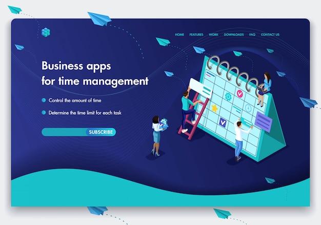 Business-website-vorlage. isometrisches konzept der arbeit von menschen an geschäftsanwendungen für das zeitmanagement. einfach zu bearbeiten und anzupassen