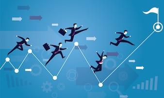 Business-wettbewerb. rennen zum erfolg