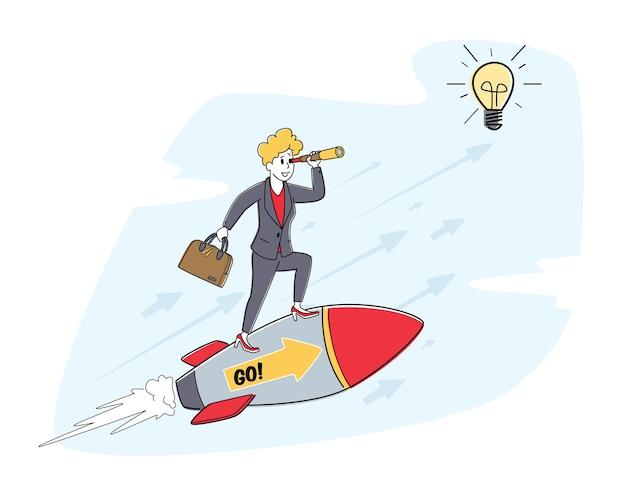 Business woman charakter mit aktentasche und spyglass fly auf rocket engine. erfolgreiches projekt, creative business innovation startup