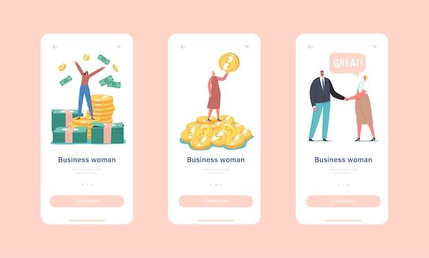 Business woman mobile app-seite onboard-bildschirmvorlage. erfolgreiche kleine weibliche figur freut sich über riesigen geldstapel und münzhaufen, handshake mit partnerkonzept. cartoon-menschen-vektor-illustration