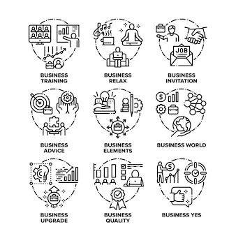 Business world set icons