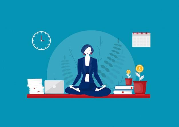 Business yoga konzept. geschäftsfrau, die über tabellenvektor meditiert.