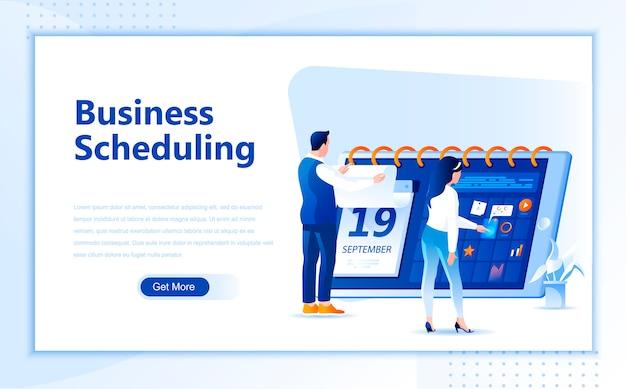 Business-zeitplan flache landingpage-vorlage der homepage