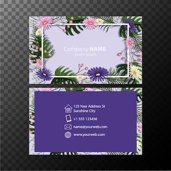Businesscard-vorlage mit blumen auf blauem hintergrund