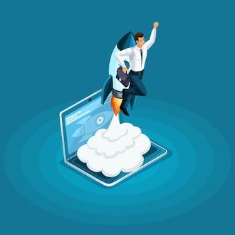 Businessman blast-off, start des ico-projekts start-ups mit dem ziel nach oben, um den zweck zu erreichen