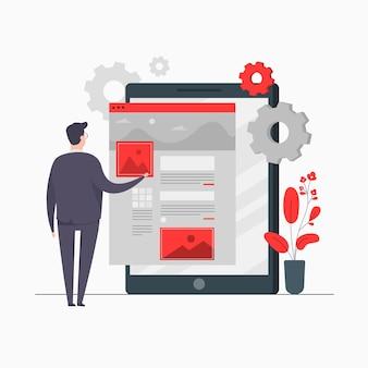 Businessman character concept illustration entwickeln von web dashboard-einstellungen für online-webanalysen