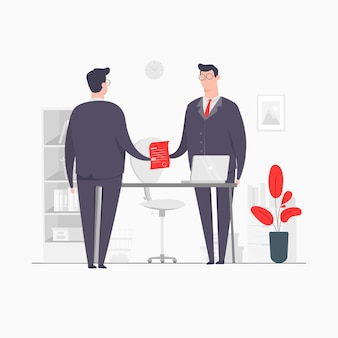 Businessman character concept illustration geschäftsvereinbarung vertrag holding hands deal partnership