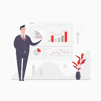 Businessman character concept illustration präsentationsdiagramme graph report data analytics