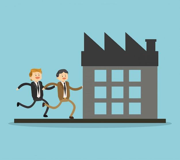 Businessmens, die zur firma laufen