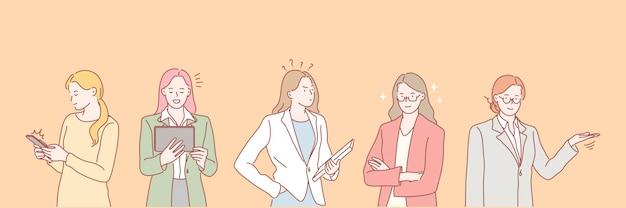 Businesswomens arbeit set konzept