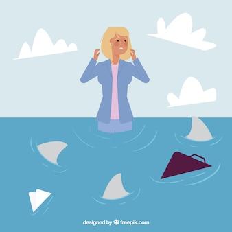 Busineswoman charakter umgeben von haien