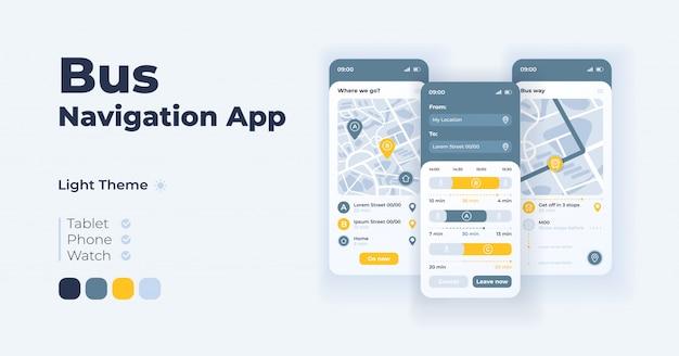 Busnavigations-cartoon-smartphone-schnittstellenvorlagen festgelegt