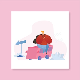 Busreise flache illustration junge