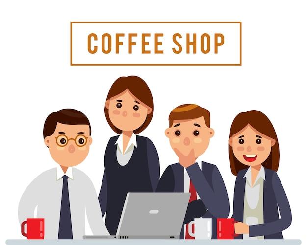 Bussiness-team, das am kaffeestube sich trifft