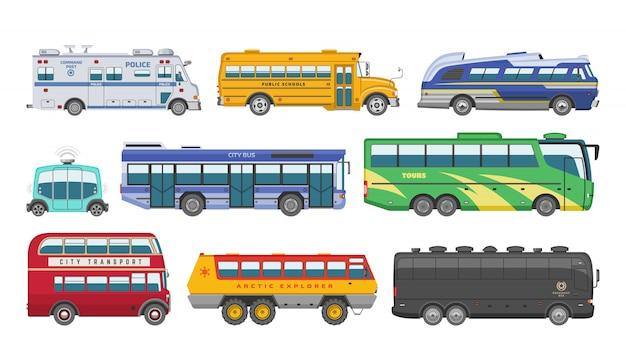 Busvektorausflug der öffentlichen transportmittel oder stadtfahrzeug, das passagierschulbuspolizei und transportables auto transportiert