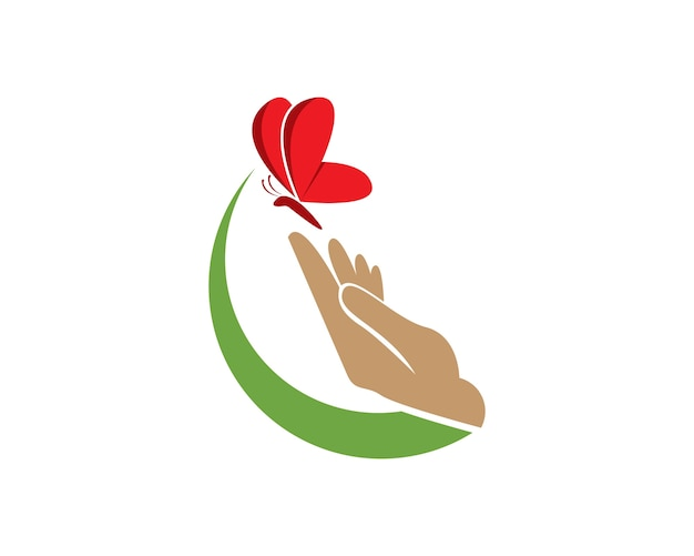 Butterfly in der hand-logo-design