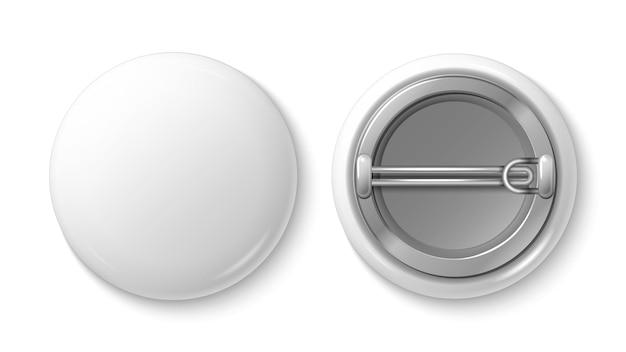 Button pin abzeichen. weißes leeres abzeichenmodell. realistischer vektor 3d stiftknopf. illustration pin button abzeichen, etikett emblem kunststoff