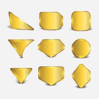 Button set web glänzend gold