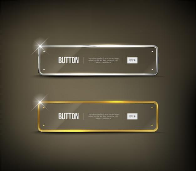 Button square web glänzend gold