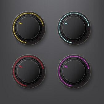 Button volum farbe rot und gelb
