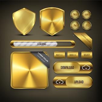 Button web set farbe golden