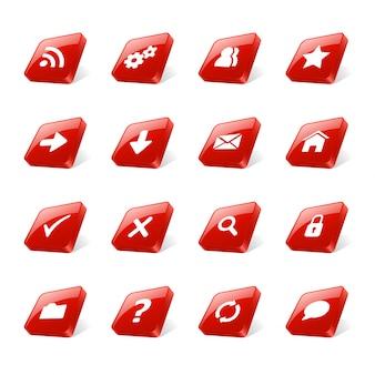 Buttons 3d red set