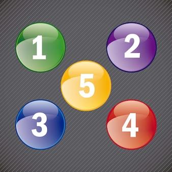 Buttons icons mit zahlen auf schwarzem hintergrund