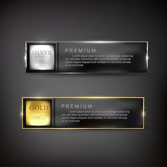 Buttons set web gold und silber stahl auf hintergrundfarbe schwarz