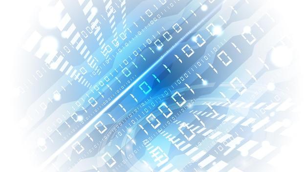 Bytes mit nullen und binären einheiten passieren das netzwerk. high-tech-digitalnetzwerk, kommunikation, hochtechnologie. eps 10.