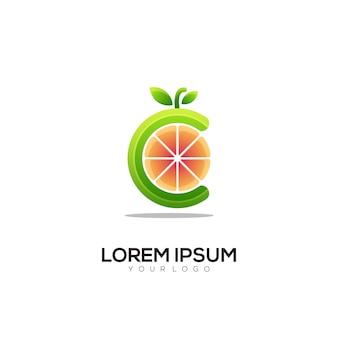 C-buchstabe orange logo bunte illustration