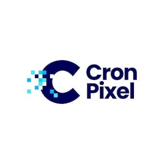 C-buchstabe-pixel-markierung digitale 8-bit-logo-vektor-symbol-illustration