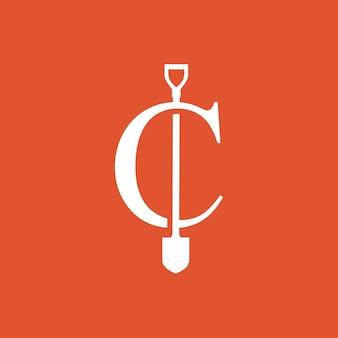 C-buchstaben-schaufel-spaten-logo-vektor-symbol-illustration