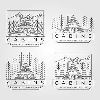 Cabin line art logo-set