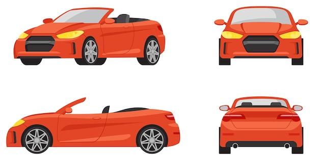 Cabriolet in verschiedenen winkeln. rotes auto im karikaturstil.