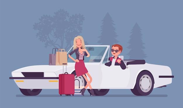 Cabriolet-junge, der mädchen mitnimmt. junger mann bietet spielerisch an, frau nach dem einkaufen mit taschen und einkäufen in seinem auto zu nehmen, flirten angezogen von dame. stil cartoon illustration