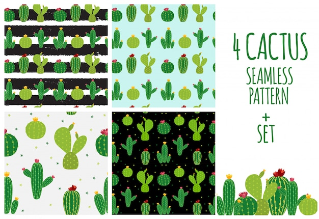 Cactus icon collection nahtlose musterhintergrundillustration