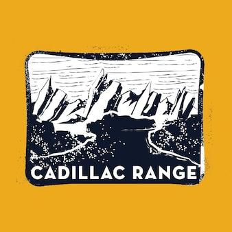 Cadillac-stempel-abzeichen-illustration mit klassischem vintage-design