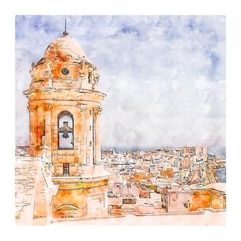 Cadiz spanien aquarell skizze hand gezeichnete illustration
