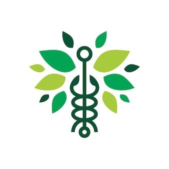 Caduceus blatt schlangensymbol