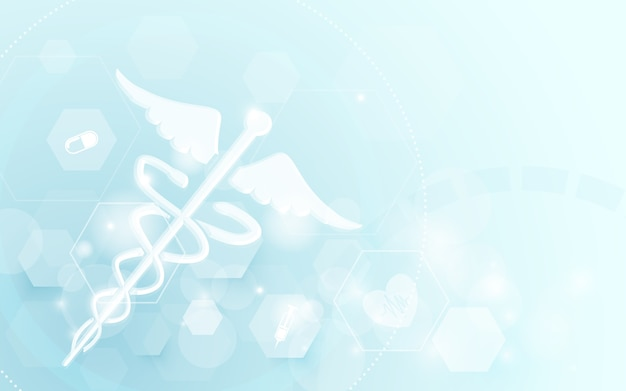 Caduceus-medizinischer symbolwissenschafts-konzepthintergrund