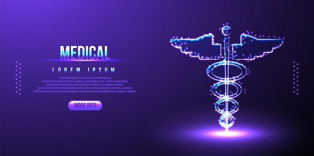 Caduceus, medizinisches low-poly-drahtmodell, polygonales design