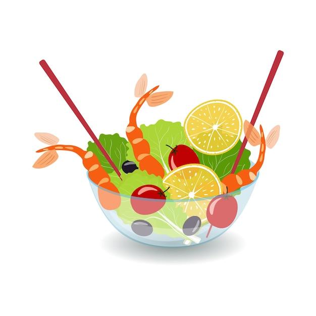 Caesar-salat mit garnelensalat und oliven in einer glasschüssel