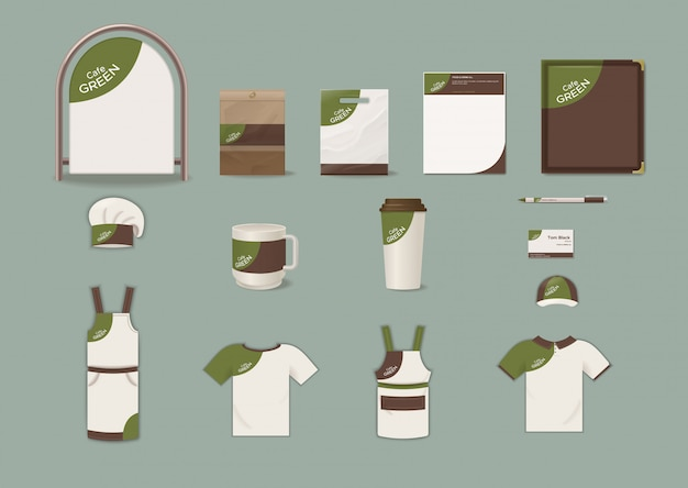 Cafe corporate identity elements set