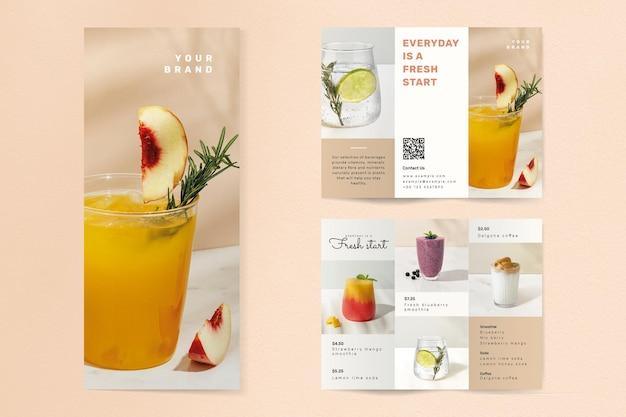 Café dreifach gefalteter broschüren-vorlagenvektor in vorder- und rückansicht