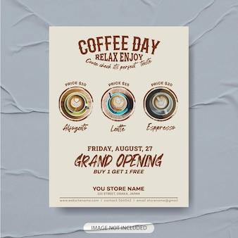 Café flyer vorlagendesign premium, kaffeemenüvorlage, kaffeeplakat, kaffeeflieger