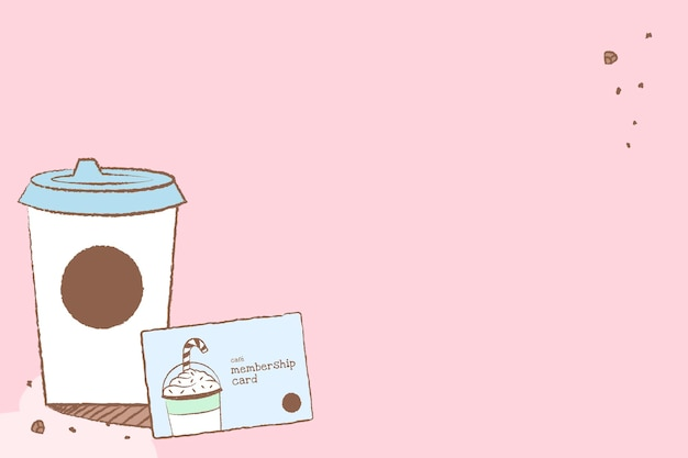 Café-hintergrund, rosa tapetenvektor